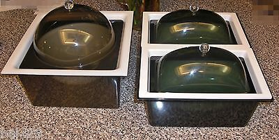 VINTAGE ICE BUCKET and LUCITE SERVING TRAYS picnic party