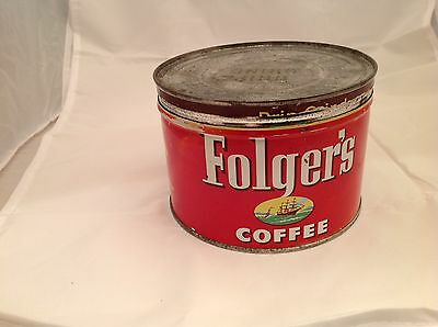 VINTAGE FOLGER'S  COFFEE TIN ADVERTISING COLLECTIBLE GRAPHICS 1952 Turn Key