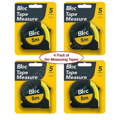 4 PACK 5M Metal Measuring Tape Rubber Grip Pocket Measure 5 Metre 16' Rule