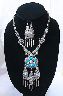 THAI HMONG HANDMADE SILVER NECKLACE PENDANT EARRINGS SET NATURE RESIN STONES 82