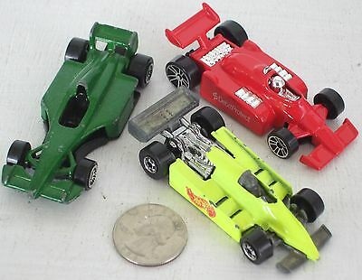 """Diecast 3-pc Indy Race Cars #6 USED approx 3"""" See Photo"""