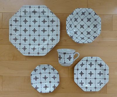 VTG Meakin Staffordshire HOMESPUN Brown Ironstone Liberty 5-Pc Place Setting