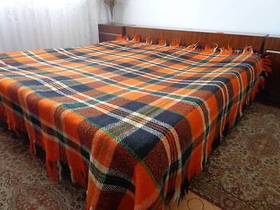 Vintage Bulgarian Woolen Plaid Blanket. Double Bed Cover