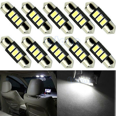 10pc 31mm 3-LED 5730 SMD C5W DE3175 DE3021 CANBUS Error Free Bulb Interior Light