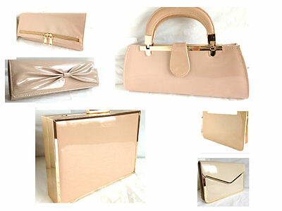 New Light Nude Faux Patent Leather Evening Day Clutch Bag Shoulder Strap Wedding