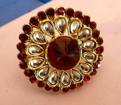 Red White Stone Stud Nice Indian Style Finger Kundan Ring Adjustable Bollywood