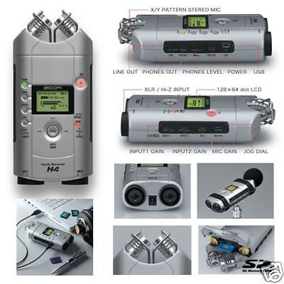 ZOOM H4 HANDY RECORDER MULTI 4 TRACK MICROPHONE 2GB & POWER SUPPLY
