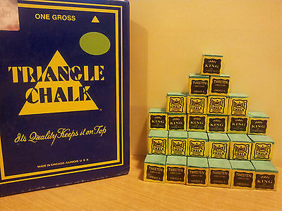 24 Pieces GREEN Genuine Triangle Snooker or Pool Cue Tip Chalk - by Tweeten  USA