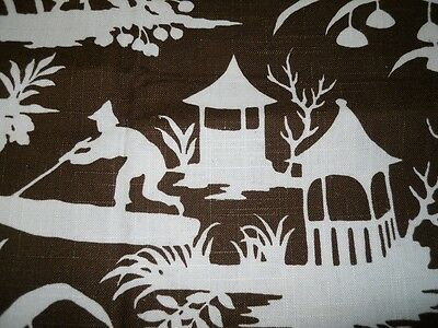 ONE ROBERT ALLEN remnant printed cotton with asian design white brown colors #1