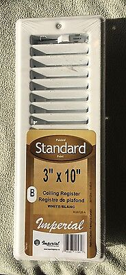 """Wall / Ceiling Register for Mobile Home 3"""" x 10"""" - White Steel with Damper"""
