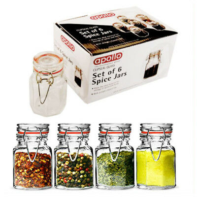 6 APOLO Air Tight Glass Spice Jars Traditional Clip Canister Containers Kitchen