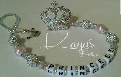Bling *Diamante Princess Crown* Shamballa Romany Dummy Clip -Any Name-Pink/White