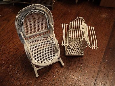 ENGLISH DOLLS HOUSE DOLL 1/12 scale metal chair and bird cage
