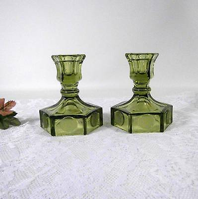 Pr. Fostoria Olive Green Coin Pattern Candleholders