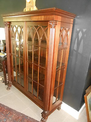 Victorian Gothic Arches, 19th Century Antique Mahogany BOOKCASE/CHINA/CABINET