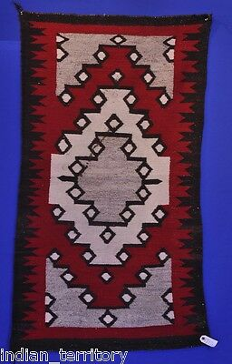 "Navajo Indian Ganado Rug c.1920   31"" x 56"" Dark line as shown. Good cabin rug."