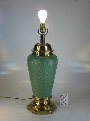 Hollywood Regency Table Lamp Lighting Electric, Green & Brass Tone White Metal