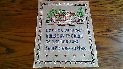 "Vintage Sampler Embroidered Cross Stitch on Rich Linen ""....Be A Friend To Man"""