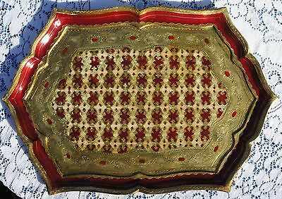 """Vintage Gold & Red Gilt Golden Crown E & R Italy Tole Wood Tray 19"""""""
