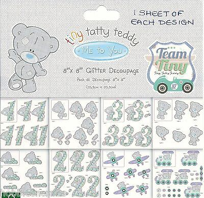 Me To You 8 X 8 Decoupage Sample Pack  Tiny Tatty Teddy Baby Boy  8 Sheets