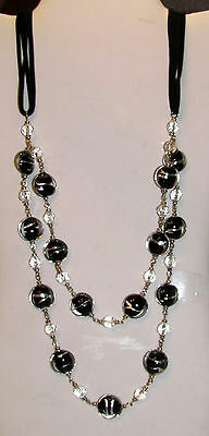 "32"" Long Fashionable Necklace with Foil Glass Beads and Faceted Glass Beads"