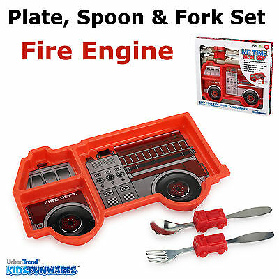 Kids Children's Boys Fire Engine Cutlery & Plate Dinner Set, Spoon Fork - Boxed