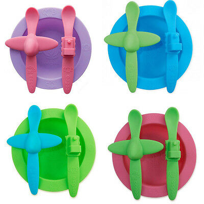 Oogaa Mealtime Silicone Feeding Set Spoon, Bowl, Plate for Baby Toddler Kids