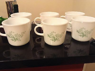 Corning Corelle Pyrex Set of 6 Cups Mugs Green Floral Spray Green flower Vtg