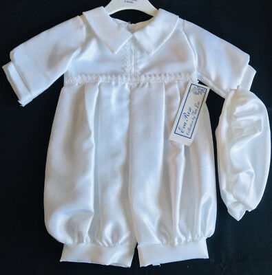 Baby Boys White Christening Romper/outfit/suit With Cap,baptism,diamond Trim
