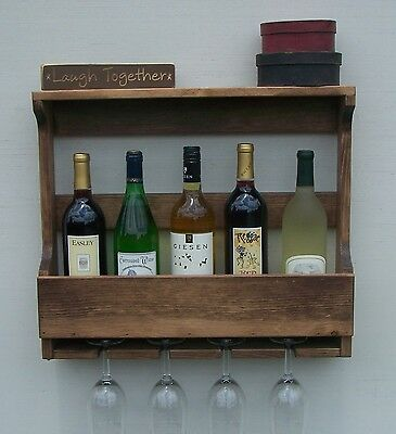 6 Bottle Wall Mount Wine Rack With 4 Glass Holder, Walnut Finish