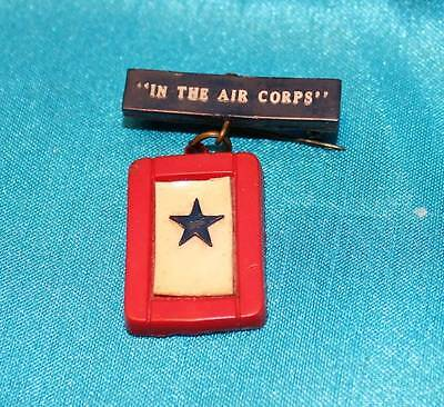 """WWI U.S. ARMY AIR CORPS USAAC BLUE STAR """"IN THE AIR CORPS"""" SWEETHEART PIN"""