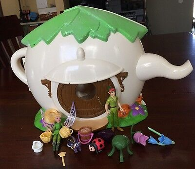 Disney Fairies Tinkerbell Teapot House W/ Accessories Playset Peter Pan