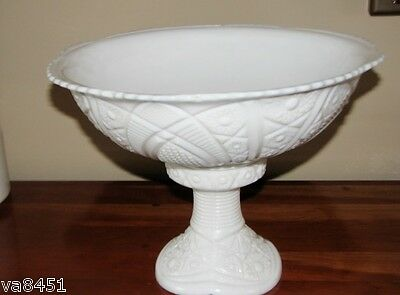 Vintage Milk Glass Punch Bowl with Matching Pedestal White McKee Concord