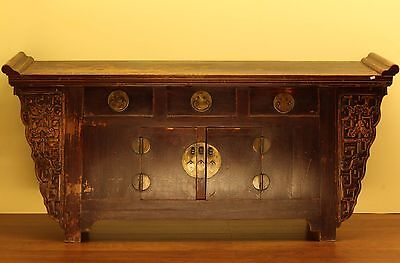 A Chinese Antique Dark Brown / Black Lacquer Big Altar Chest / TV Table display