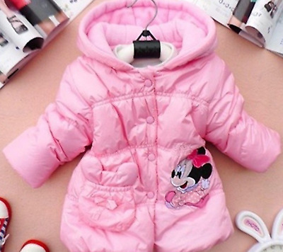 Kids Girls Disney Character MINNI MOUSE Hooded Winter Puff Padded Coat 3,4,5,YRS