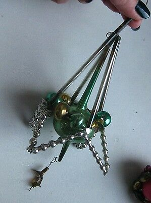 Antique Russian Christmas Silver Glass Ornament Construction