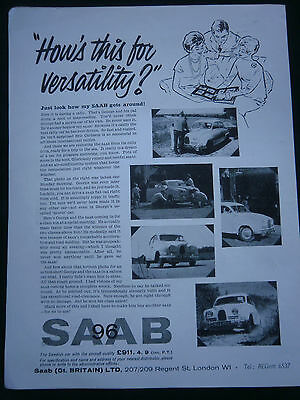 SAAB 96 from 1961 - 1 page B/W ADVERT