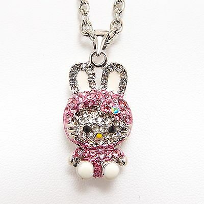 "Cute Pink Bunny Hello Kitty Pendant Necklace 16"" Chain w/ Crystal Rhinestone"