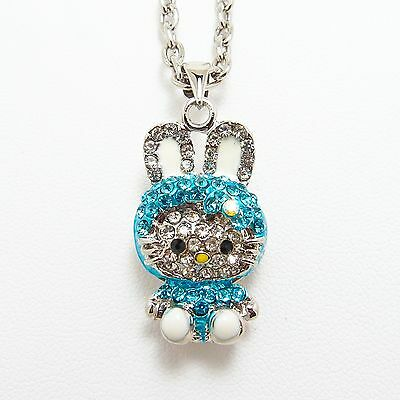 "Cute Blue Bunny Hello Kitty Pendant Necklace 16"" Chain w/ Crystal Rhinestone"