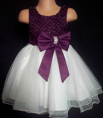 Purple Ivory Flower Girl Bridesmaid Prom Sparkly Diamante Party Dress 0-6m - 13y