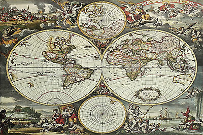 Superb Antique Map Of The World Canvas #6 Quality Framed Wall Art Picture A1