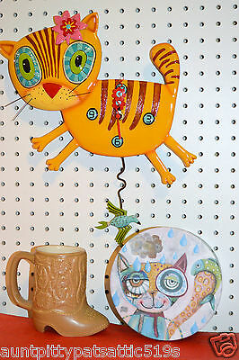 WHIMSICAL KIMI KITTY ART WALL CLOCK,MICHELLE  ALLEN DESIGNS, SHIPS IN 24 HOURS !