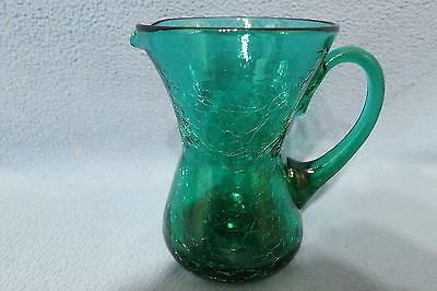 "Vintage Rainbow Art Glass Company Crackle Glass Pitcher Emerald Green 5"" Tall"