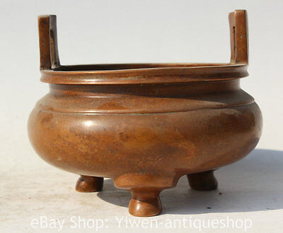 """6"""" Old Marked Chinese Dynasty Palace Bronze Round 3 Foot Incense Burner Censer"""