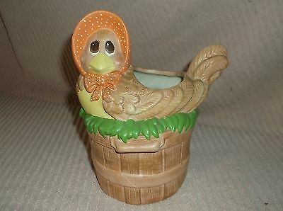 Vintage Hand Painted Ceramic Nesting Chicken Easter Planter