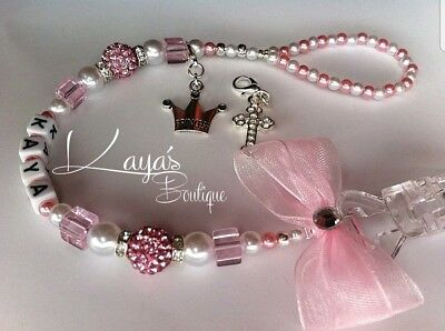 Bling Romany Pink White Shamballa & Crystal Cube Dummy Clip Girl *Personalised