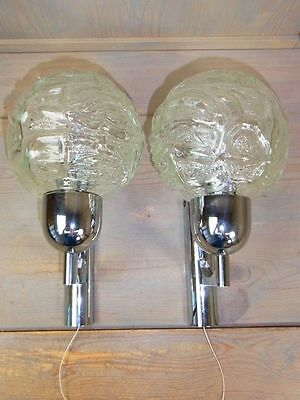 NP58 * Gorgeous Pair Of Chrome & Glass Ball Sconces * Vintage 1960's
