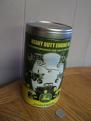 "John Deere Tin  Heavy Duty Engine Oil Bank - 7-3/4""     Licensed Product"