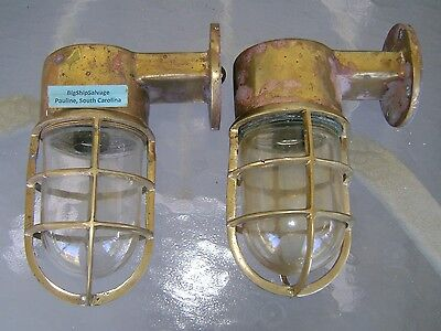 2 Matched Original Cast Brass Nautical Wall Lights Ready To Install    LOT Z