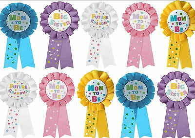 Baby Shower Mummy To Be / Big Sister / Grandma Badge - Rosette Award
